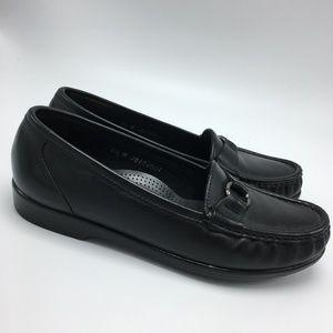 SAS Leather Tripad Slip On Loafers Black